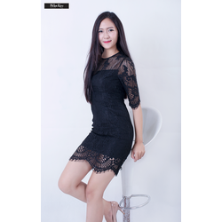 Đầm ren body đen tay lỡ