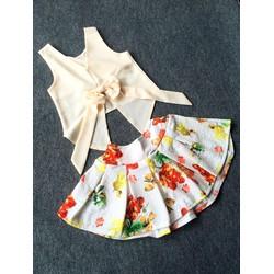 Set váy hoa kèm crop top lưng nơ cực chất Cưng quá các mom ơi