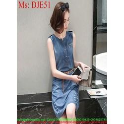 Đầm jean nữ sát nách kiểu dáng suông kẻ xước sành điệu cá tính DJE51