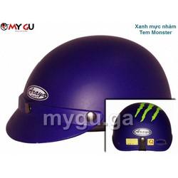 Mũ bảo hiểm cao cấp ARAYA HH666 - Xanh mực nhám - Tem Monster