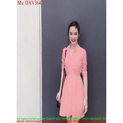 Đầm xòe dài tay công sở phối cổ sơ mi xinh đẹp DXV364