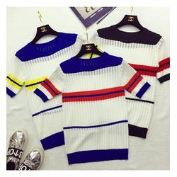 Áo len gân tay con sọc màu sắc- Hàng Qc
