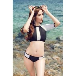 Bikini Hai Mảnh Trắng Đen Thun Cao Cấp Rosa bkn169
