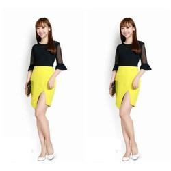 Đầm ôm thiết kế tay lỡ xoè phối màu thanh lịch