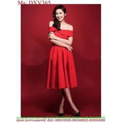 Đầm xòe đỏ bẹt vai ngang sang trọng và quý phái DXV365
