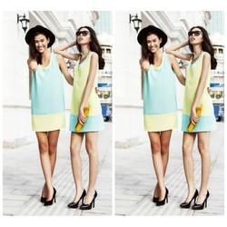 Đầm suông thiết kế phối màu đơn giản