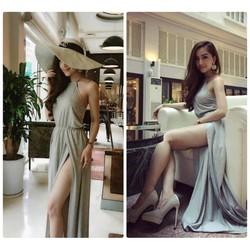 Đầm maxi dài thiết kế cổ yếm gợi cảm