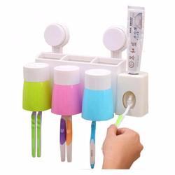 Bộ nhả kem đánh răng tự động kèm bàn chải và 3 cốc hít chân không