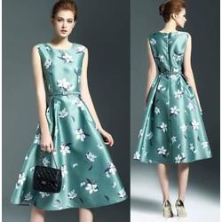 Đầm xòe vintage họa tiết cao cấp kèm belt