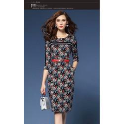 Hàng nhập cao cấp - Đầm suông họa tiết kèm belt MS1060