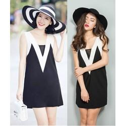 Đầm suông thiết kế viền cổ V trắng năng động