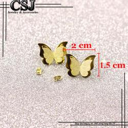 Bông tai ti-tan con bướm phun cát màu vàng tươi
