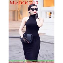 Đầm body cổ yếm màu đen sang trọng đầy cá tính DOC210