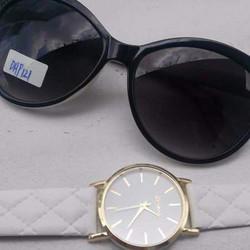 combo 2 trong 1 giá sock - đồng hồ nữ dây da - mắt kiếng thời trang