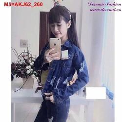 Áo khoác Jean nữ xanh đậm tay dài rách cá tính AKJ62