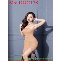Đầm body dự tiệc cúp ngực cách điệu và xẻ đùi quyến rũ DOC178