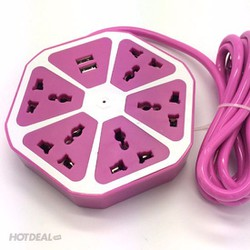 Ổ Cắm Điện Đa Năng Trái Cam Với 5 Lỗ Cắm 3 Chấu Và 2 Cổng USB