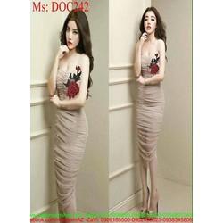 Đầm body 2 dây cúp ngực thêu hoa hồng xinh đẹp DOC242