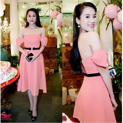 Đầm xòe trể vai cột nơ Thái Hà