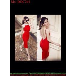 Đầm body cổ yếm hở lưng sexy và sang trọng DOC241