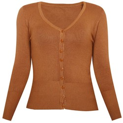 Áo khoác cardigan nữ len mỏng nhẹ cúc cổ tim ZENKO CARDIGAN NU 006 BR