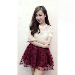 Chân váy ren lưới bi hàng Thái