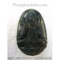 Mặt Phật bản mệnh Đại thế chí ồ tát màu xanh đen 3,7x 5,1cm số 02