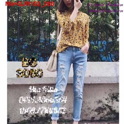 Quần Jean nữ rách phong cách bụi bặm cá tính QJR153