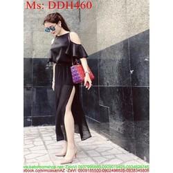 Đầm maxi đen cổ yếm khoét vai sành điệu và sang trọng DDH460