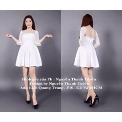 đầm xoè công chúa trắng ren