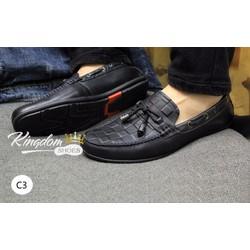 Giày lười in dập vân khóa Chuông da bò thật giá rẻ nhất