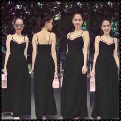 Đầm Maxi 2 Dây Viền Màu Xinh Như Ngọc Trinh - Trắng, Đen