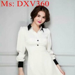 Đầm xòe công sở phối màu tay và cổ bẻ thời trang phong cách DXV360