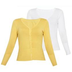 Bộ 2 áo khoác cardigan nữ len mỏng nhẹ cúc cổ tim ZENKO 006 Y W