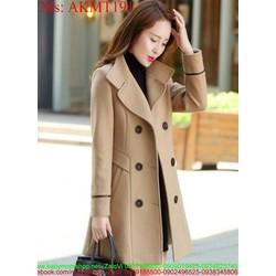Áo khoác dạ form dài kiểu cổ bẻ sành điệu phong cách hàn quốc AKMT191