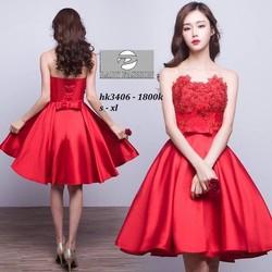 Đầm xòe công chúa phối ren hoa hồng - 5512.DZO