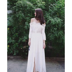 Đầm Maxi Voan Phối Ren Trễ Vai - Trắng, Đen