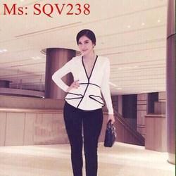 Sét áo dài tay tùng xòe viền đen phối quần baggy thời trang SQV238