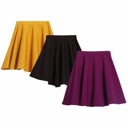Bộ 3 Chân váy xòe xếp ly trên gối cao cấp MIXX 3CHAN VAY 007 P Y B