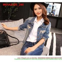 Áo khoác jean nữ rách tay dài bụi bặm cá tính AKJ95