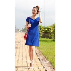 Đầm suông xanh coban cổ tim