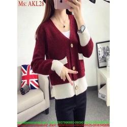 Áo khoác lên nữ tay dài ghép màu và phối túi sành điệu AKL28