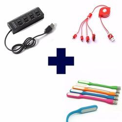 COMBO 3 SẢN PHẨM : 1 CÁP USB 4 PORT,  1 ĐÈN LED, 1 CÁP SẠC 4 CỔNG