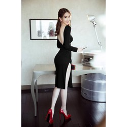 Đầm Body Tay Dài Thiết Kế Lưng V Đẹp Như Ngọc Trinh