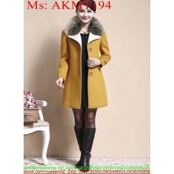 Áo khoác dạ thu đông cổ phối lông phong cách thời trang AKMT194 View