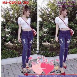 Quần Jean nữ rách lưng cao xanh đậm cá tính QJR128