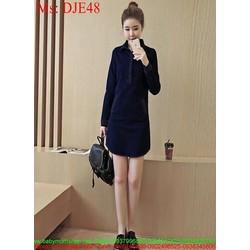 Đầm jean nữ công sở dài tay kiểu dáng đẹp xinh xắn DJE48