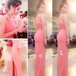 Đầm dạ hội hở lưng V váy xẻ quyến rũ hồng nổi bật
