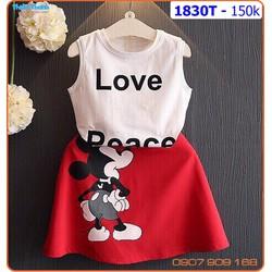 Bộ váy Mickey love sành điệu và đáng yêu cho bé