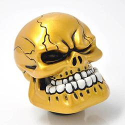 Phụ Kiện Xe Hơi Cần Gạt Số Hình Đầu Lâu Skull Vàng